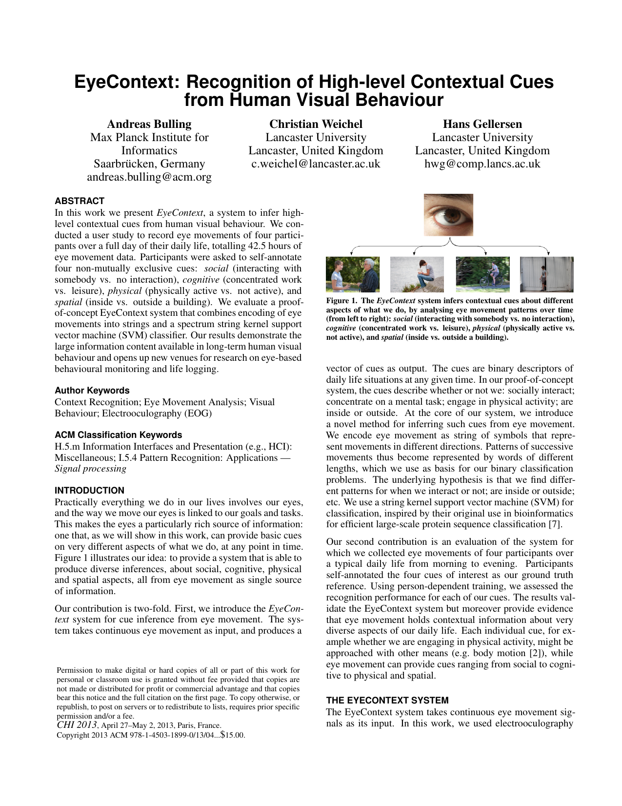 EyeContext: Recognition of High-level Contextual Cues from Human Visual Behaviour
