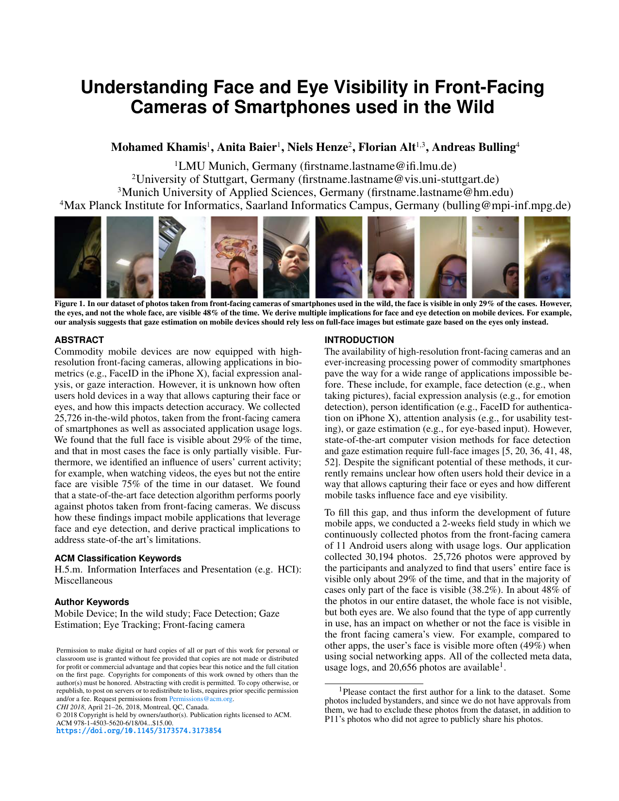 Understanding Face and Eye Visibility in Front-Facing Cameras of Smartphones used in the Wild
