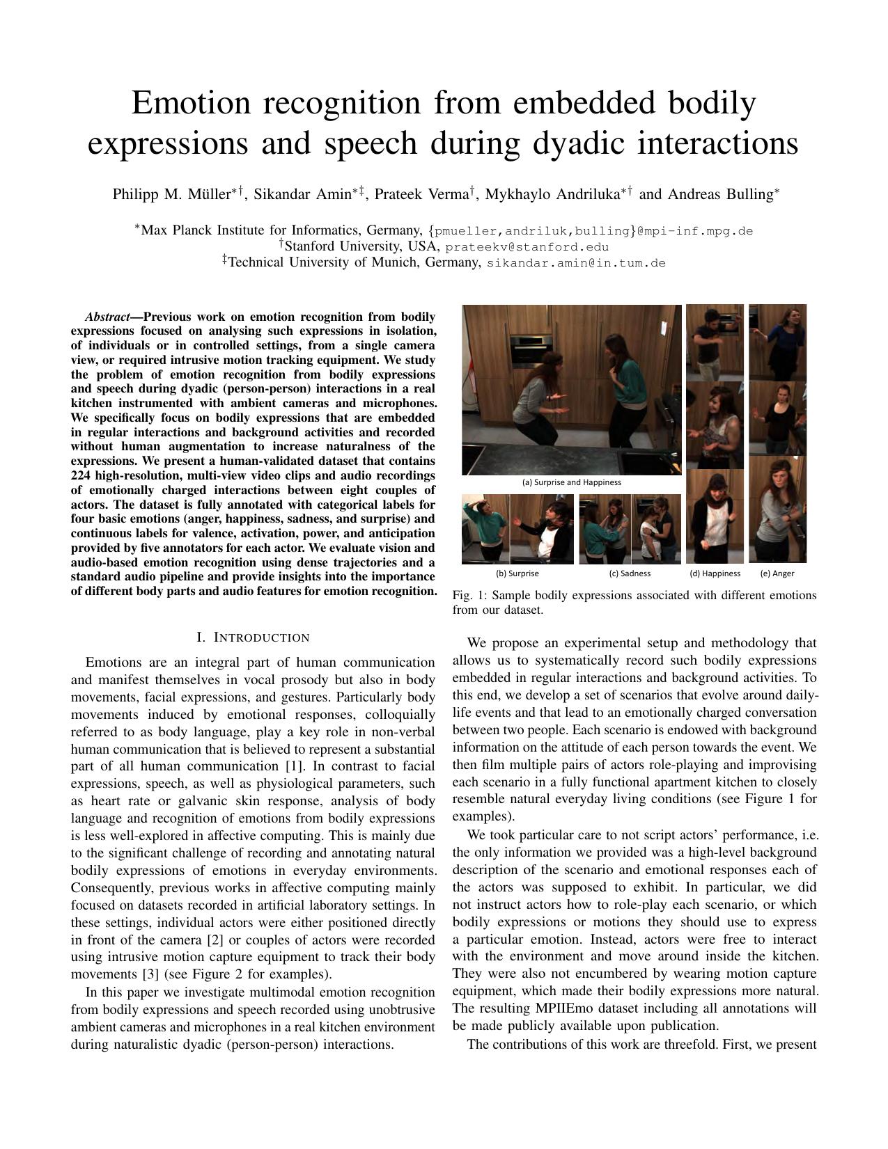 Emotion recognition from embedded bodily expressions and speech during dyadic interactions