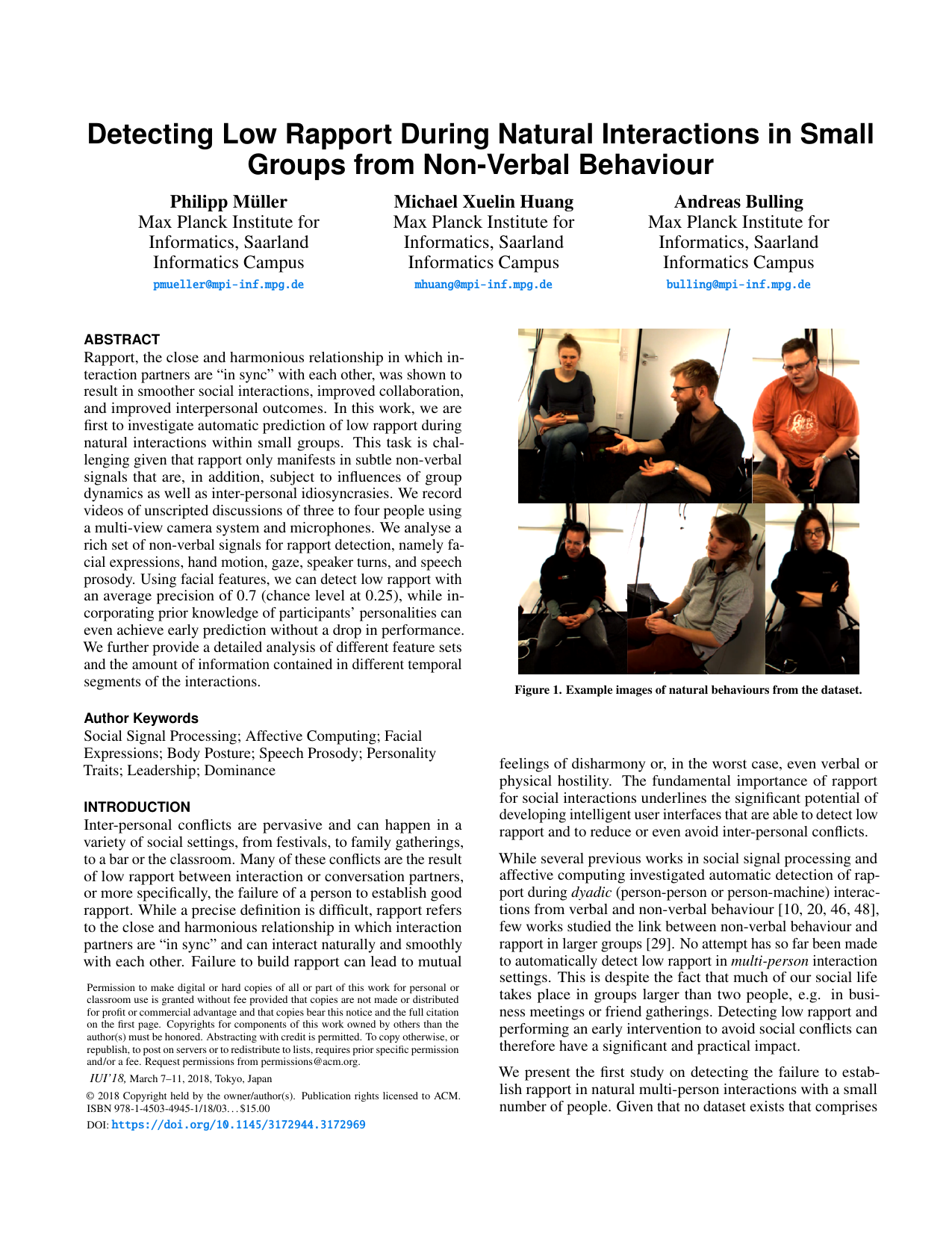 Detecting Low Rapport During Natural Interactions in Small Groups from Non-Verbal Behavior