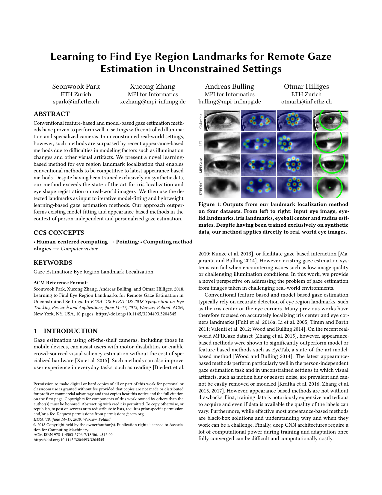 Learning to Find Eye Region Landmarks for Remote Gaze Estimation in Unconstrained Settings