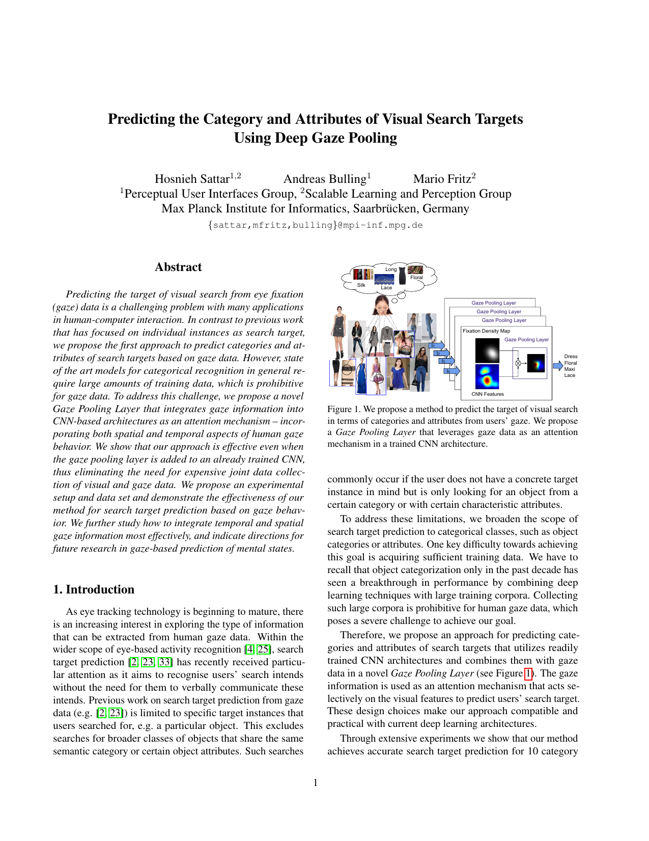Predicting the Category and Attributes of Visual Search Targets Using Deep Gaze Pooling