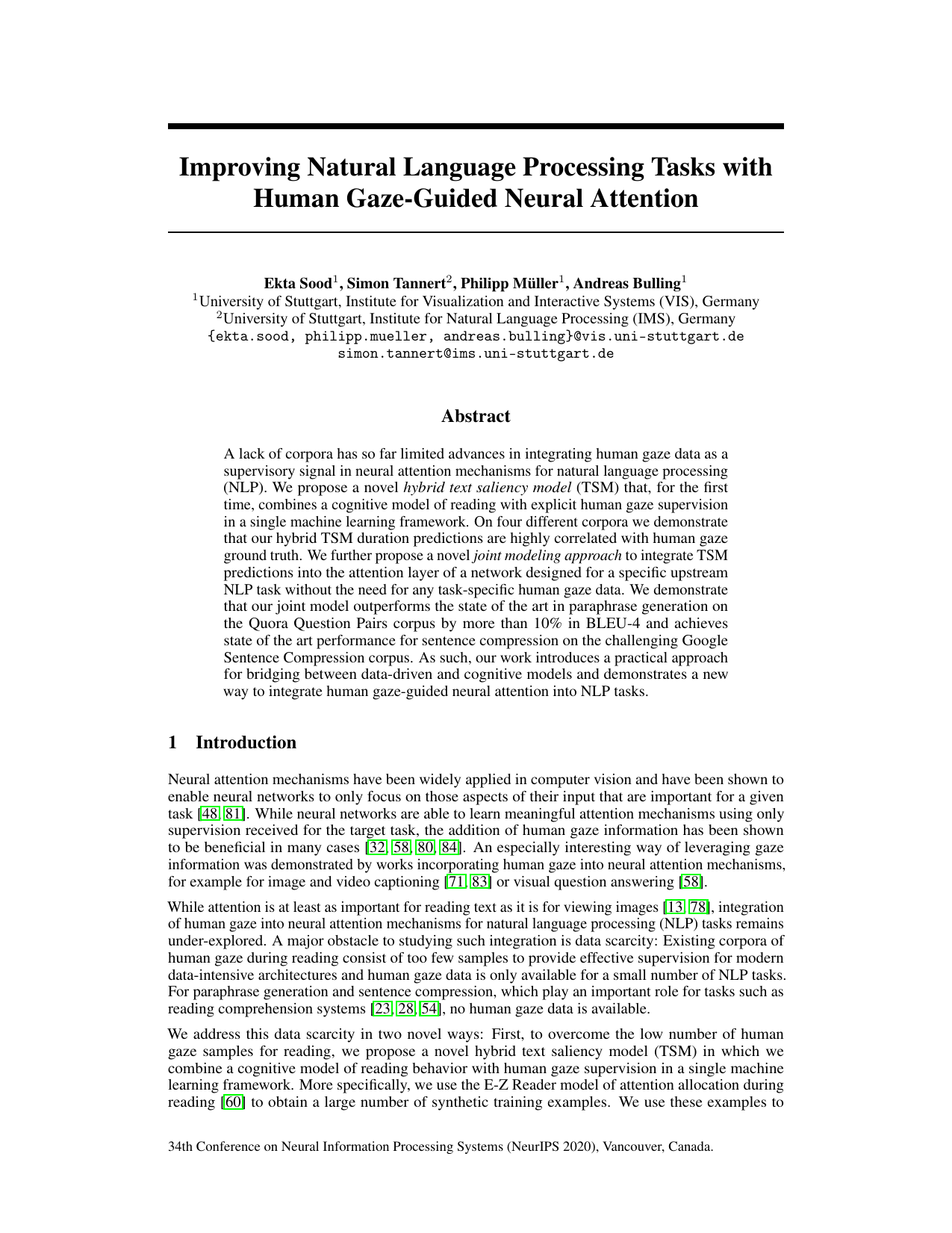 Improving Natural Language Processing Tasks with Human Gaze-Guided Neural Attention
