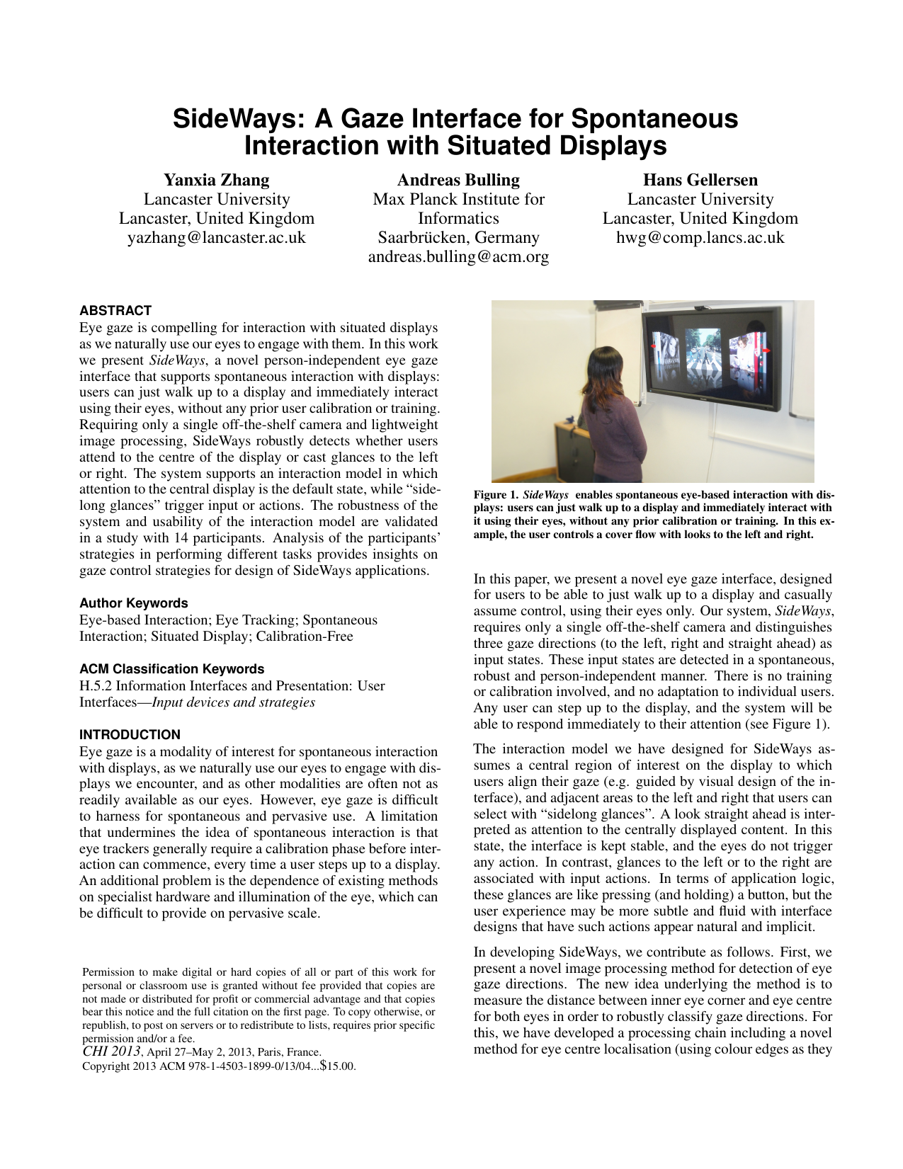 SideWays: A Gaze Interface for Spontaneous Interaction with Situated Displays