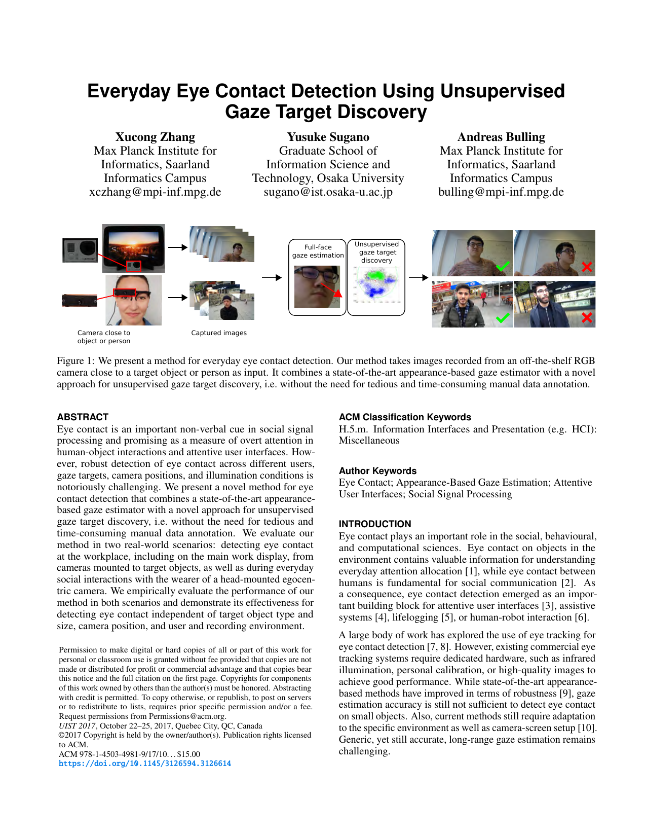 Everyday Eye Contact Detection Using Unsupervised Gaze Target Discovery