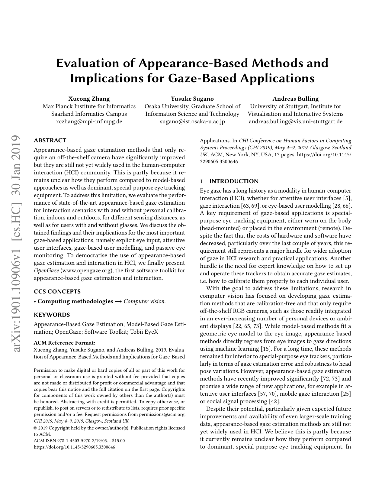 Evaluation of Appearance-Based Methods and Implications for Gaze-Based Applications
